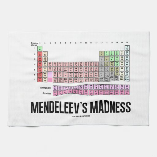 Mendeleev's Madness (Periodic Table Of Elements) Kitchen Towel