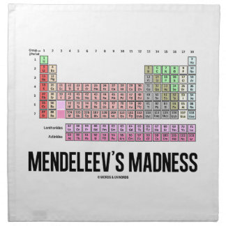Mendeleev's Madness (Periodic Table Of Elements) Napkin