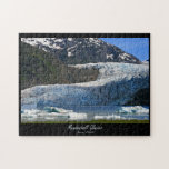 """Mendenhall Glacier / Juneau Alaska Jigsaw Puzzle<br><div class=""""desc"""">This custom photo puzzle features a photograph of amazing Mendenhall Glacier in Juneau, Alaska, on a beautiful sunny day! The motto is &#39;See it before it melts!&#39;, because it is melting, and retreating at a dramatic pace! The icebergs floating in Mendenhall Lake have been &#39;calved&#39; from the Glacier. Designed by...</div>"""