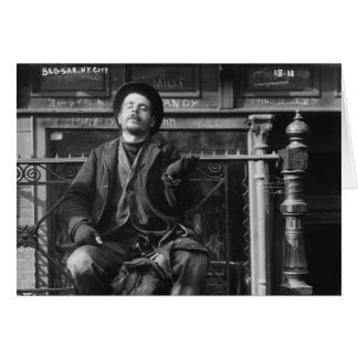 Mendigo en New York City in Early 1900 Tarjeton