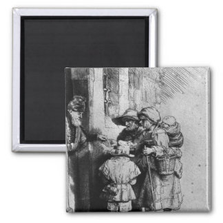 Mendigos en el umbral de una casa, 1648 imán para frigorifico