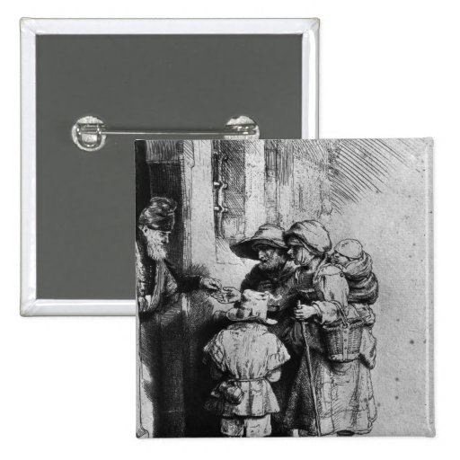 Mendigos en el umbral de una casa, 1648 pin cuadrada 5 cm