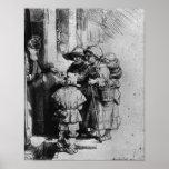 Mendigos en el umbral de una casa, 1648 póster