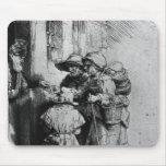 Mendigos en el umbral de una casa, 1648 tapete de raton