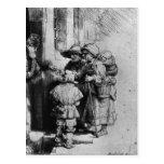Mendigos en el umbral de una casa, 1648 tarjeta postal