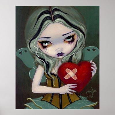 Mending a Broken Heart gothic fairy Art Print by strangeling