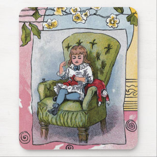 """Mending Doll Clothes"" Vintage Mouse Pad"