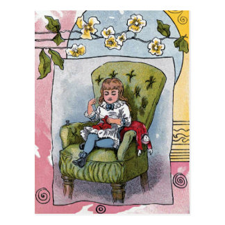 """Mending Doll Clothes"" Vintage Postcard"