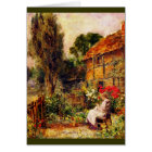 Mending in a Cottage Garden Card