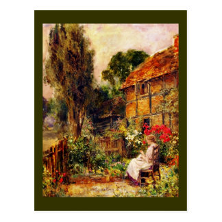 Mending in a Cottage Garden Postcard