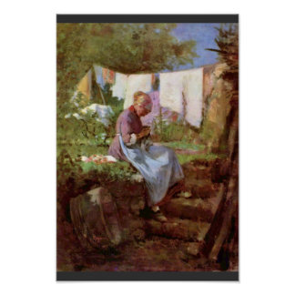 Mending Old Woman By Grigorescu Nicolae Poster