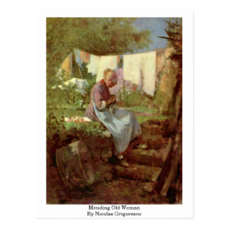 Mending Old Woman By Nicolae Grigorescu Postcard