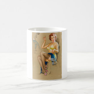 Mending the Jeans Pin Up Art Coffee Mug