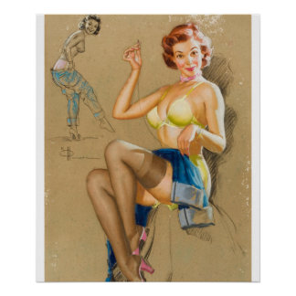 Mending the Jeans Pin Up Art Poster