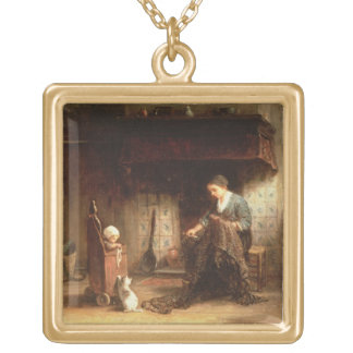 Mending the Nets (oil on panel) Square Pendant Necklace