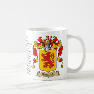 Mendiola, the Origin, the Meaning and the Crest Coffee Mug