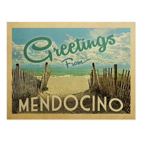 Mendocino Beach Vintage Travel Postcard