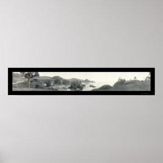 Mendocino, foto 1911 de la costa de CA Poster