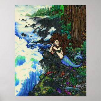 """Mendocino Mermaid"" Fairy Fantasy Coast Ocean Art Poster"