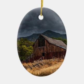 Mendon Utah Red Barn In Storm Ceramic Ornament