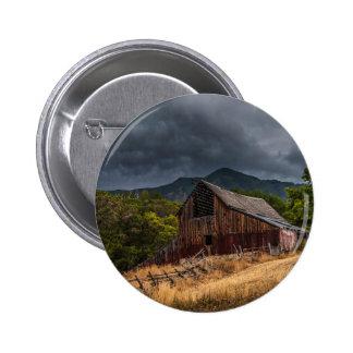 Mendon Utah Red Barn In Storm Pinback Button