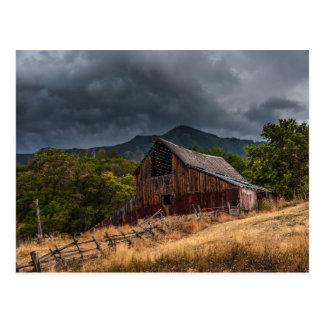 Mendon Utah Red Barn In Storm Postcard