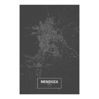 Mendoza, Argentina (white on black) Poster