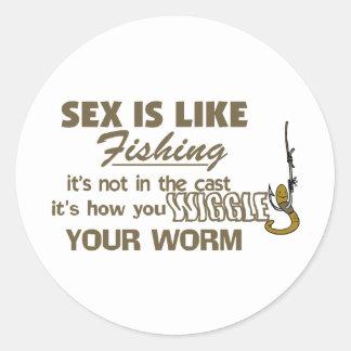 Menee su gusano pegatina redonda