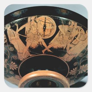 Menelaos, accompanied by Aphrodite Square Sticker