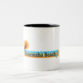 Menemsha Beach - Beach Design. Two-Tone Coffee Mug