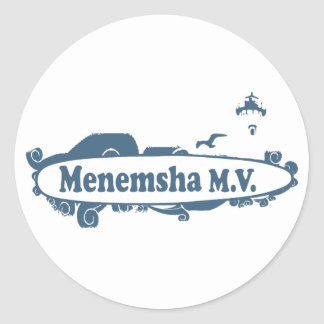 Menemsha Beach - Surf Design. Classic Round Sticker