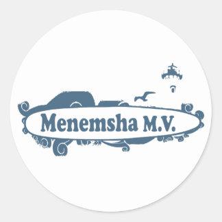 Menemsha Beach - Surf Design. Classic Round Sticker