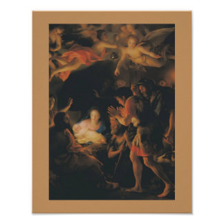 Mengs Adoration Shepherd Painting Vintage Poster