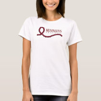 Meningitis Awareness Burgundy Beaded Ribbon T-Shirt