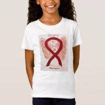 Meningitis Burgundy Awareness Ribbon Angel Shirt
