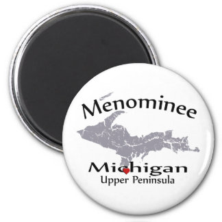 Menominee Michigan Heart Map Design Magnet