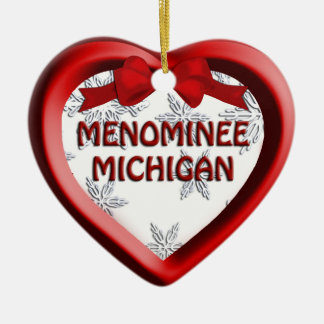 Menominee Michigan Snowflakes Heart Ornament