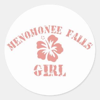 Menomonee Falls Pink Girl Classic Round Sticker