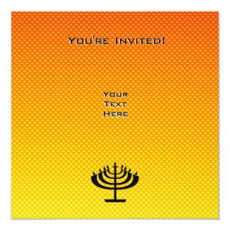 "Menorah amarillo-naranja invitación 5.25"" x 5.25"""