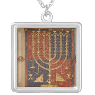 Menorah and other vessels of the temple silver plated necklace