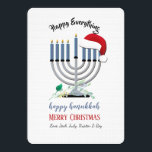 """Menorah and Santa Hat Holiday Card<br><div class=""""desc"""">A Hanukkah-Christmas holiday card which features a menorah and Santa's hat. Perfect for the """"Holiday Season"""" crowd. (Designed by Rawpixel.com). (Designed by Freepik). (Designed by Freepik). The card is easy to customize with your wording, font and font color.Not exactly what you're looking for? All our products can be custom designed...</div>"""