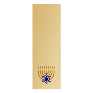 Menorah and the Star of David Bookmark Double-Sided Mini Business Cards (Pack Of 20)