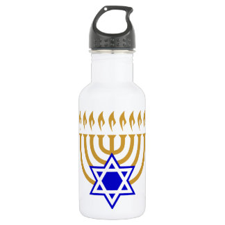 Menorah and the Star of David Stainless Steel Water Bottle