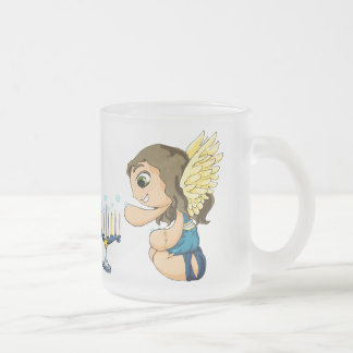 Menorah Angel Frosted Glass Coffee Mug