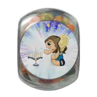 Menorah Angel Glass Jar