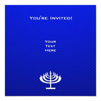"Menorah azul invitación 5.25"" x 5.25"""