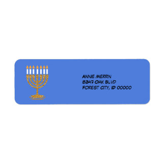 Menorah Bue white and Gold Label