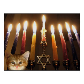 Menorah candlelight and kitten poster