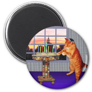 Menorah Cat 2 Inch Round Magnet