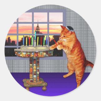 Menorah Cat Classic Round Sticker